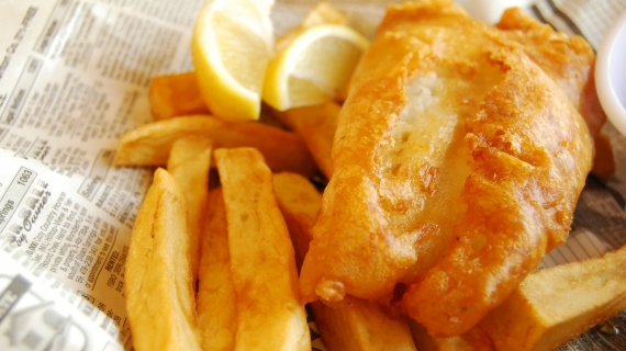 Fish & chips de saumon et patates douces